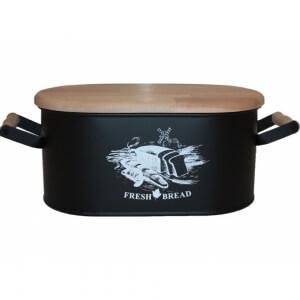 Metal Ahşap Kesim Tahtalı Ekmeklik Siyah
