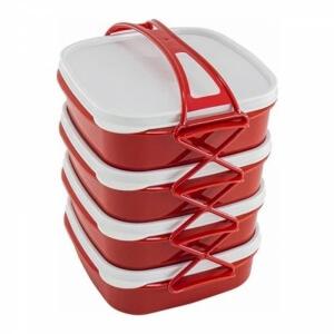Piev Beslenme Kutusu 4 Katlı Kırmızı