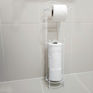 Piev Metal Beyaz Yedekli Tuvalet Kağıtlığı