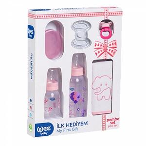 Wee Baby İlk Hediyem Biberon Emzik Önlük Seti Pembe