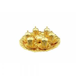 Akmetal Lale 6 Lı Yuvarlak Fincan Seti Altın