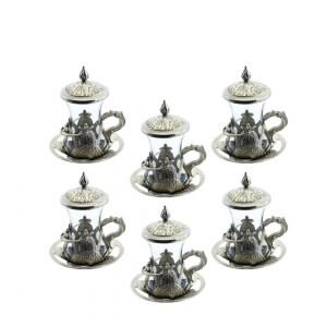 Akmetal 6 Lı Hüma Kapaklı Çay Bardağı Nikel