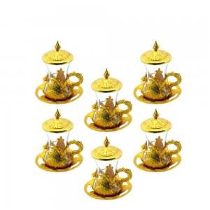 Akmetal 6 Lı Hüma Kapaklı Çay Bardağı Altın
