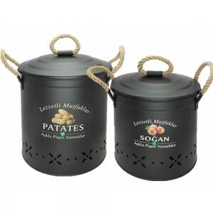 Metal Halat Saplı Patates Soğan Kabı Siyah